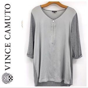 💕SALE💕Vince Camuto Gray Silver 3/4 Zip Top